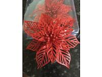 Glitter clip red poinsettia wedding decorations