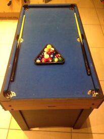 Kids pool table and football table