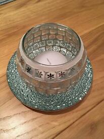 Candle Plate Glass Holder and Candle Set. Lovely and sparkly and