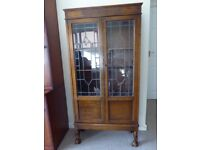 Solid Oak Display Cabinet with Leaded Light doors