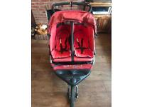 Out n About Nipper 360 Double Pram Buggy V3 Red with Basket