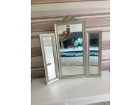 Fabulous silver finish triple mirror for dressing table
