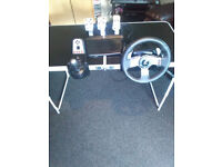 "LOGITECH G27 STEERING WHEEL PEDALS AND GEARSHIFT FOR SALE INCLUDES PS 3 GAME ""DIRT 2"""