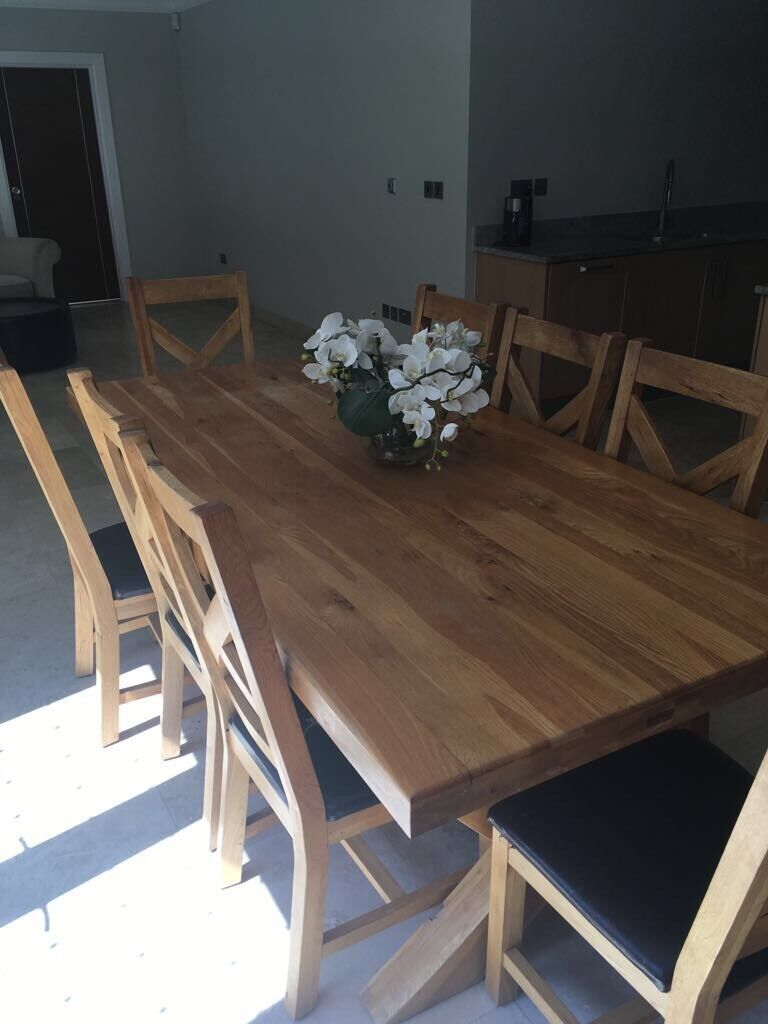 8 seater solid oak cross bar table | in chigwell, essex | gumtree