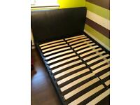 Black Double Faux Leather Bed