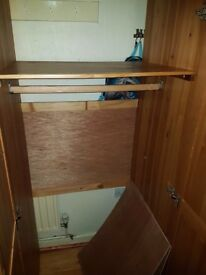 2 double pine wardrobes