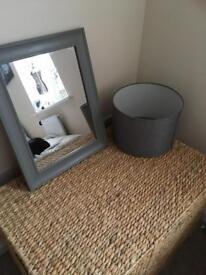 Grey mirror and light shade