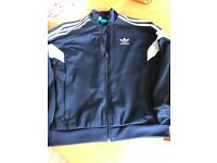 Adidas junior Boys blue retro full zip up top - age 12-13