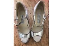 Jimmy Choo Designer peep toe silver Heels