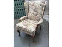 Large vintage winged back arm chair