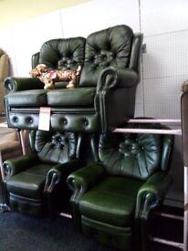 Saxon chesterfield sofa 2 recliner chair s