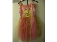 BEAUTIFUL SILKY FLOATY FAIRY DRESS in pink & gold complete with wings - age 7-11 by LADYBIRD REDUCED