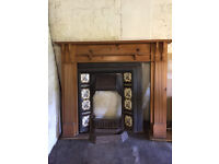 fire surround with open fire victorian reproduction