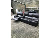3+1 brown leather sofa