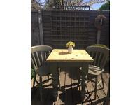 Shabby chic Solid pine small table & chairs