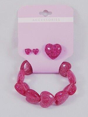One Dozen Bracelet Ring Earring Sets w/ Fuscia Hearts #S1038-12