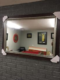"""chunky red & silver large framed mirror 43""""x31"""""""