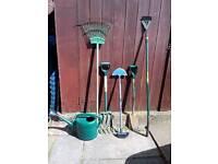 Garden hand tools 6 items rake,fork,spade,edger,hoe,watering can