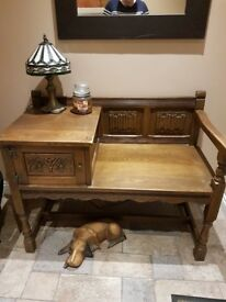 old charm solid oak telephone table
