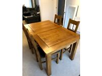 """Rushmere Rustic Solid Oak 4ft 7"""" * 3ft Dining Table + 6 Farmhouse Rustic Solid Oak/Charcoal Chairs"""
