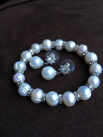 Real Pearl bracelet set and other earrings