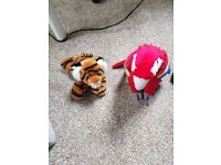 Stuffed Tiger and Parrot