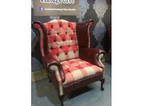 New Chesterfield Queen Anne Wing Back Chair in Tartan Fabric & Oxblood Leather - Delivery