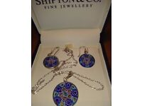 LADIES NEW , ITALIAN DESIGNER, SILVER AND EARRINGS SET, INLAID WITH TINY GLASS MOSAICS,