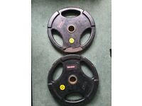 2x 25kg Rubber Covered Olympic Weight Lifting Plates