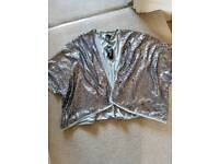 Silver Sequin Kimono Size 18