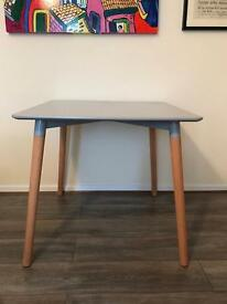 Eiffel Designer Dining Table 80cms Small Square Grey With Natural Wood Legs Art Deco Style