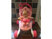 Fisher Price Princess Pram Baby Walker & Doll