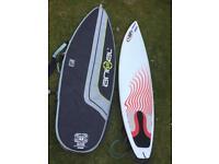NSP 6'6 surfboard shortboard with surf bag