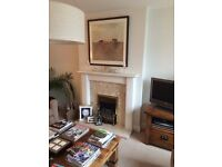 Electric fire, wooden mantel, marble back panel & hearth