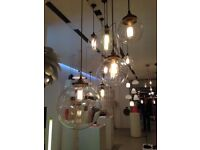 Heals large glass globe pendant ceiling light Habitat Conrad Tom Dixon RRP £300