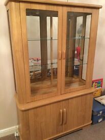 Locksley Oak Effect Glass Display Cabinet with Cupboard - Excellent Condition.