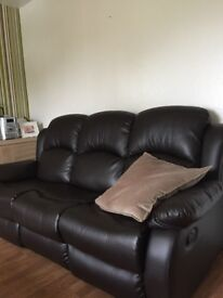 3plus 2recliner brown leather sofas