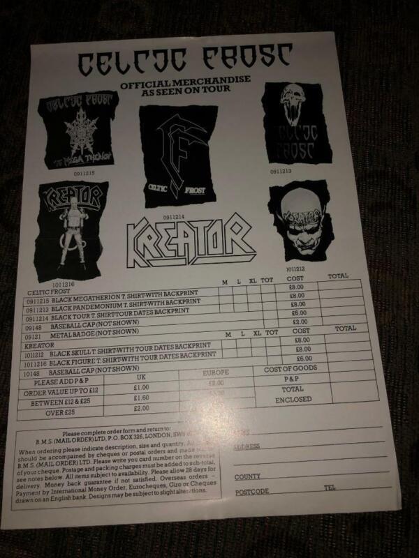 Celtic Frost Kreator Merch Price List Insert UK 80s/90s 8.5x12 punk flyer kbd