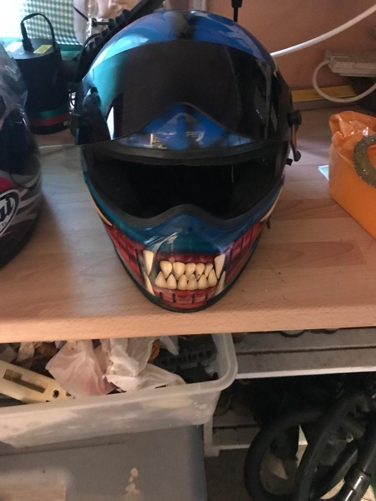 Simpson Motor Cycle Helmet, fully customised.