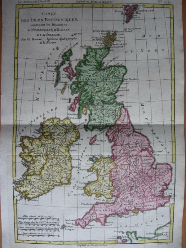 BONNE - Map BRITISH ISLES  ENGLAND WALES SCOTLAND IRELAND c1780