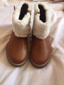 BNWT Tan Zara girls boots size 10