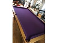 Superb solid oak slate base pool table with accessories, dining table top & stunning purple cloth