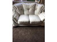 White leather sofa 3 piece set