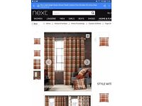 NEXT check woven eyelet curtains brand new condition