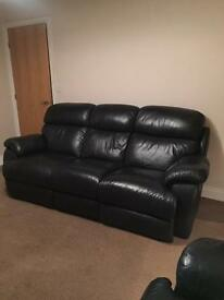 Black leather reclining sofas