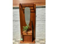 Vintage Hall Coat Hat Stand Mirror Teak #759