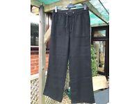 M&S LADIES LINEN MIX BLACK STRAIGHT LEG ELASTICATED WAIST TROUSERS SIZE 10