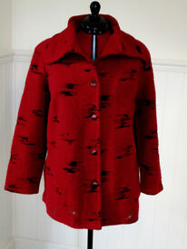 Beautiful devoré red felted fabric lady's loose jacket size 20/24. As new.
