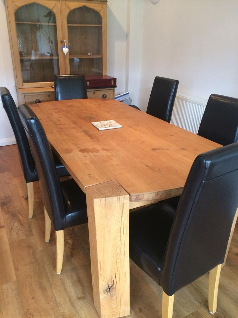Super Solid Oak Dining Table Extensions 6 Chairs In Cheltenham Download Free Architecture Designs Scobabritishbridgeorg