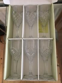 6 brand new heavy Galway Irish Crystal Wineglasses